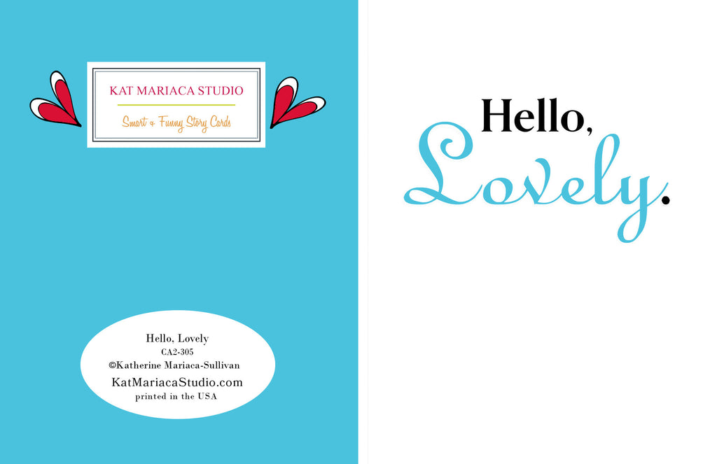 Love Card - Card for Lover - Hello, Lovely Greeting Card - KatMariacaStudio - 2