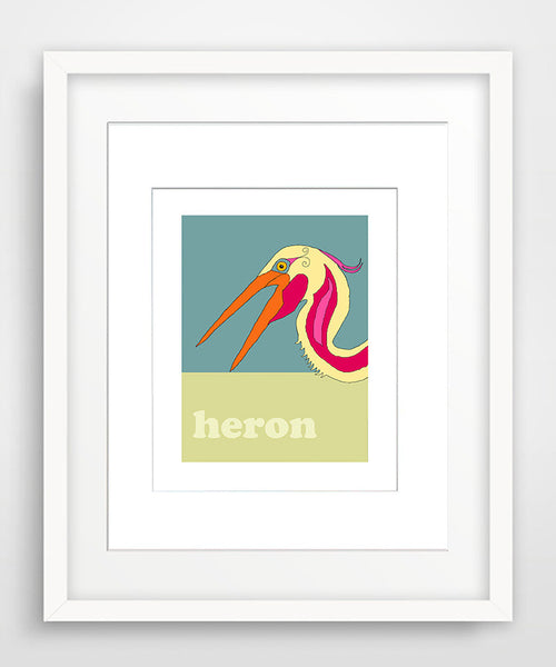 Heron - Modern Nursery Room Art - Matted Art Print for Kids
