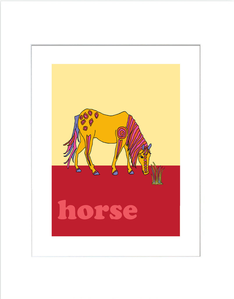 Horse - Modern Nursery Room Art Print for Kids - Matted Art Print