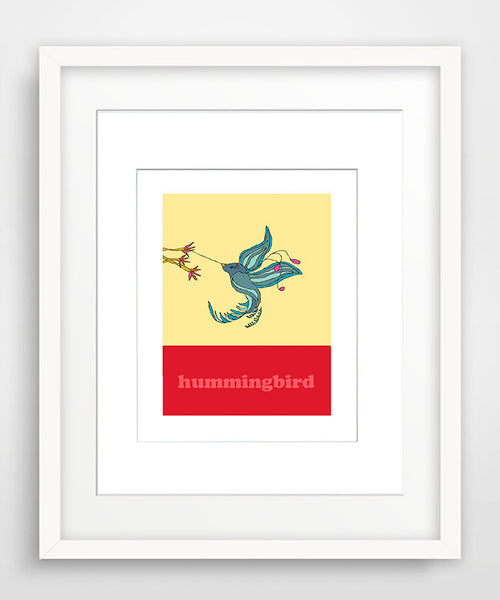 Hummingbird - Modern Nursery Room Art - Matted Art Print