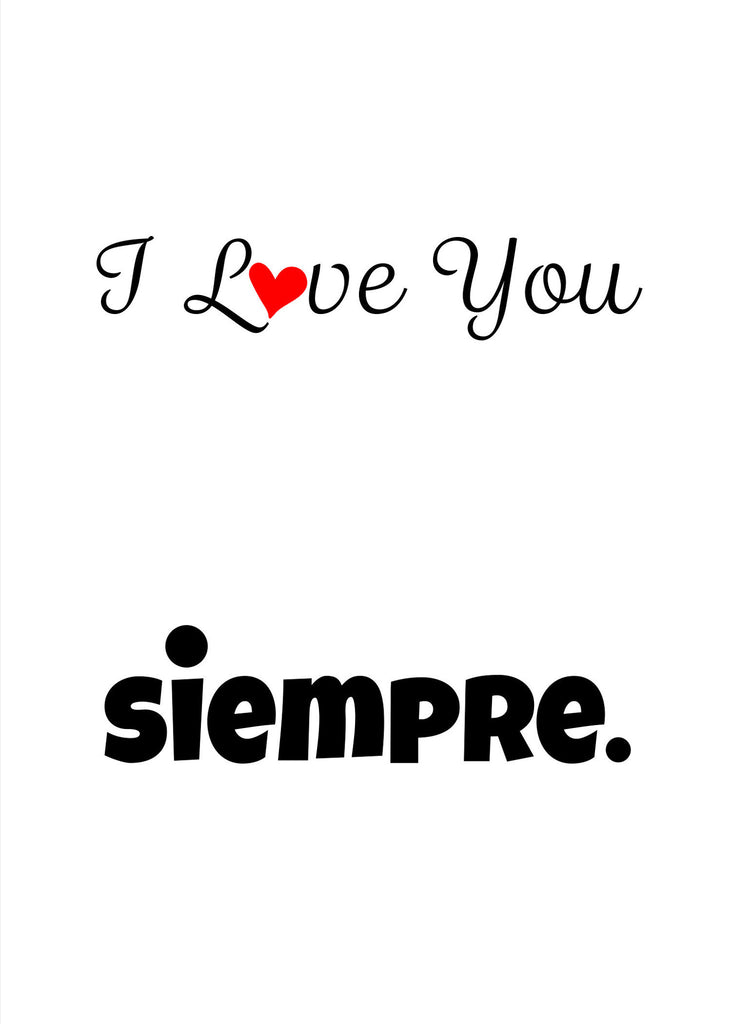 I Love You Siempre Love Card - Valentine's Day Card - KatMariacaStudio - 4