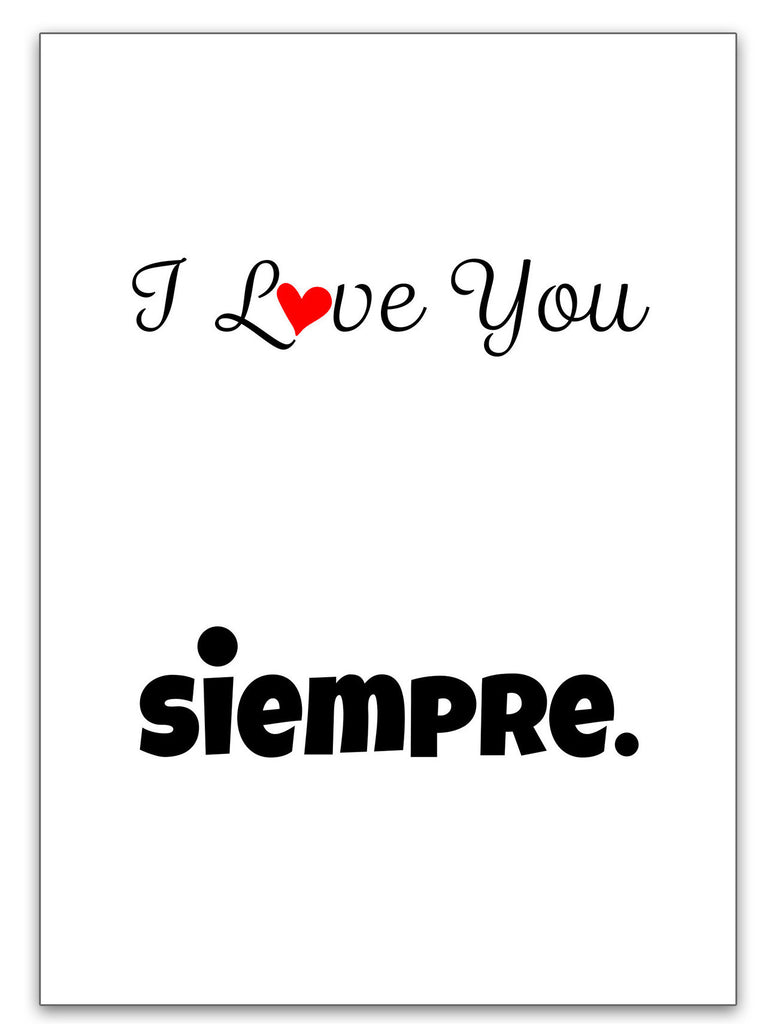 I Love You Siempre Love Card - Valentine's Day Card - KatMariacaStudio - 3