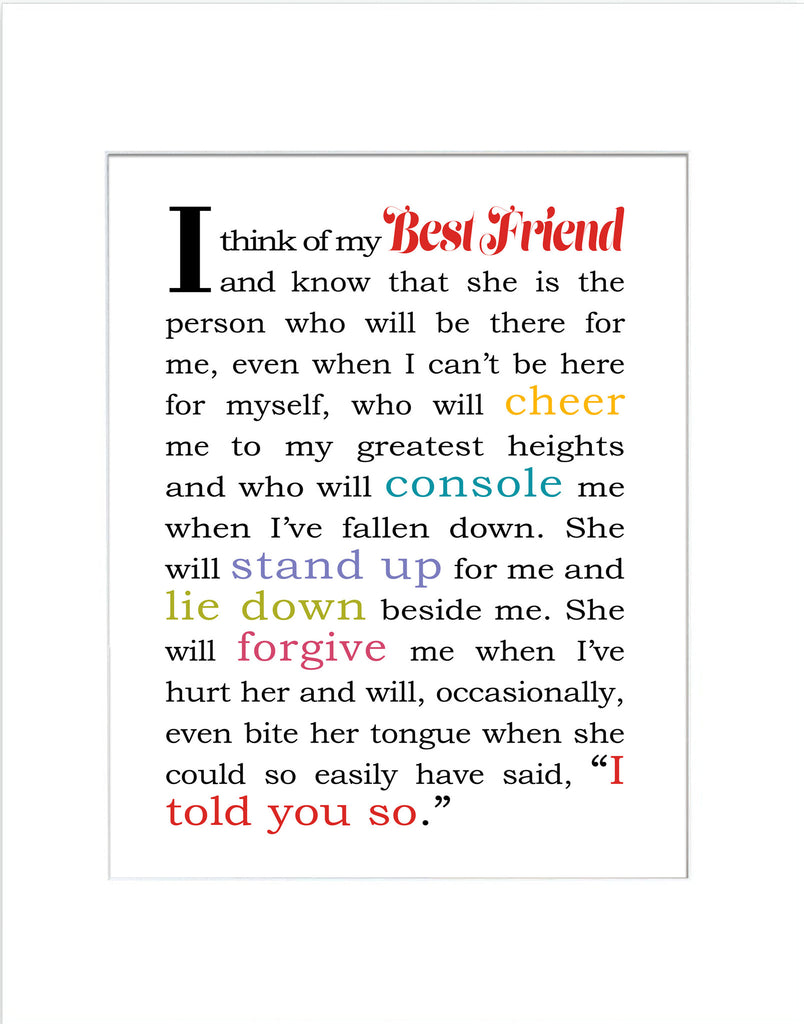 I Think of My Best Friend - Matted Art Print for Female Best Friend