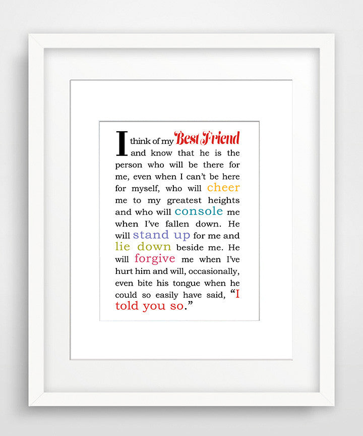 I Think of My Best Friend - Male - Matted Art Print for Male Best Friend