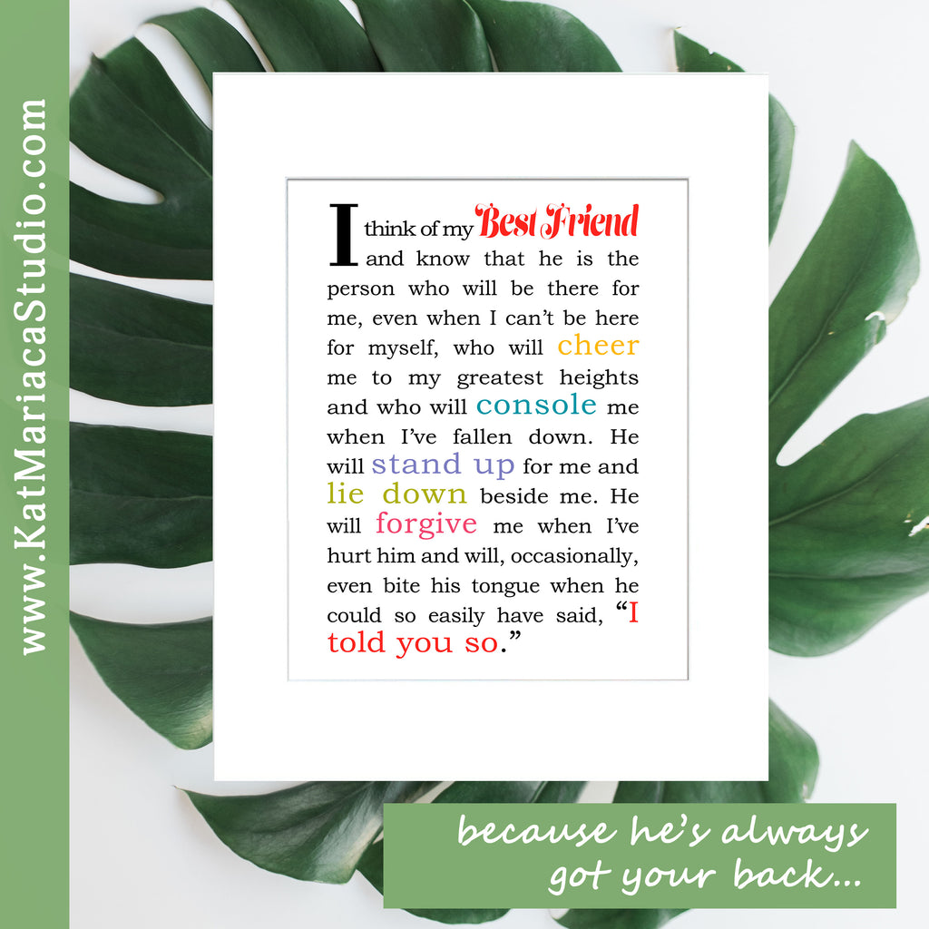 Gift for Best Friend - Male - Instant Download - I Think of My Best Friend - Printable Bestfriend Gift