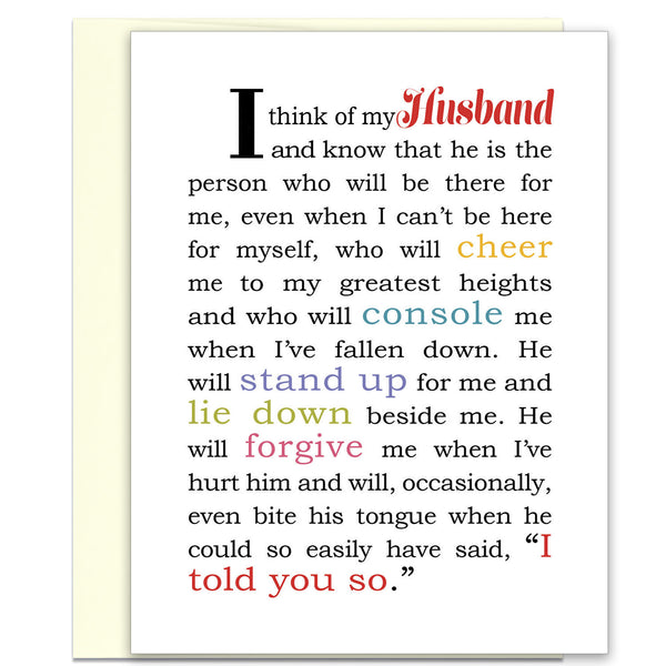 I Think of My Husband - Love Card for Husband - KatMariacaStudio - 1