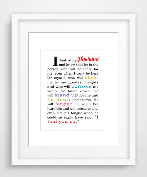 I Think of My Husband - Matted Art Print Gift for Husband