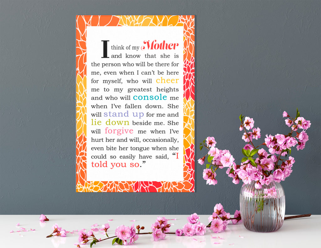 I Think of My Mother - Wrapped Canvas Decorative Sign