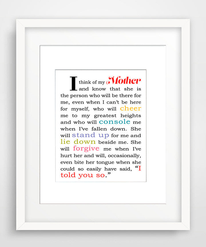 I Think of My Mother - Matted Art Print Gift for Mom