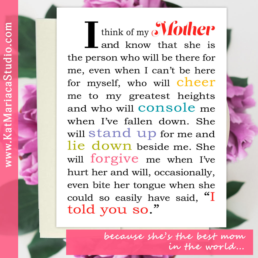 Best Mom Gift Ideas - I Think of My Mother - Unique Mom Card - Card for Mother - KatMariacaStudio