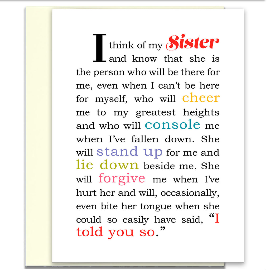 I Think of My Sister - Card for Sister - KatMariacaStudio - 1