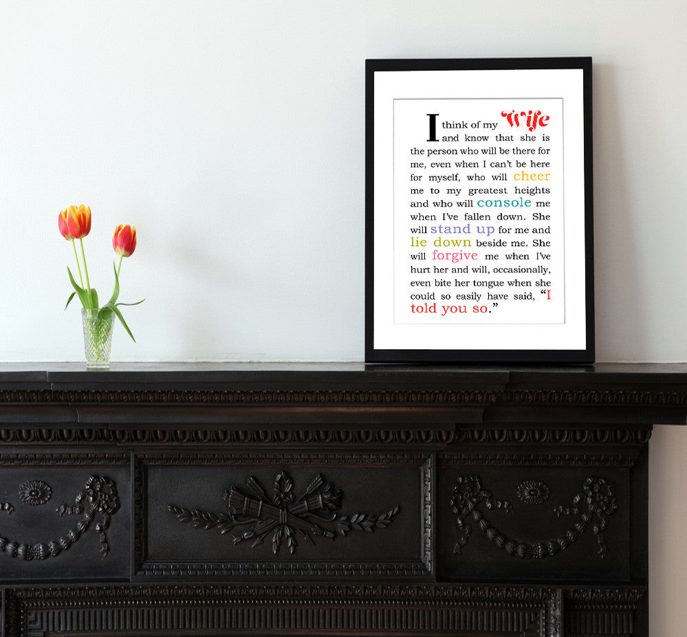 I Think of My Wife - Matted Art Print Gift for Wife