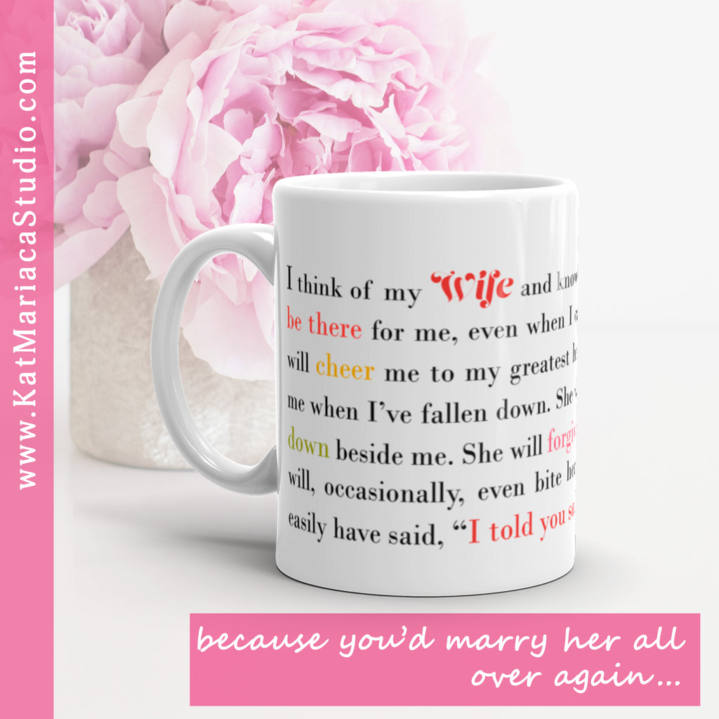 Wife Gift - I Think of My Wife Coffee Mug - Gift for Wife