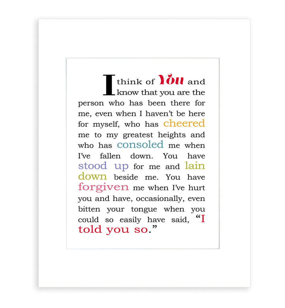 I Think of You - Matted Art Print Gift for Best Friend or Significant Other