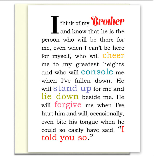 I Think of My Brother - Greeting Card for Brother - KatMariacaStudio - 1