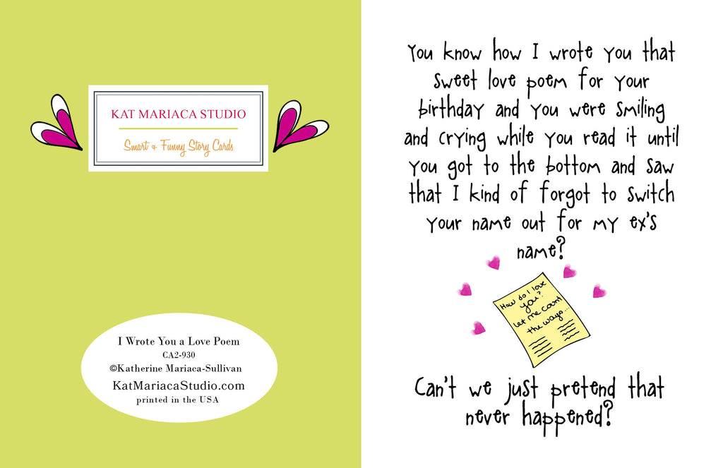 I Wrote You a Love Poem - A Break Up Greeting Card - KatMariacaStudio - 2