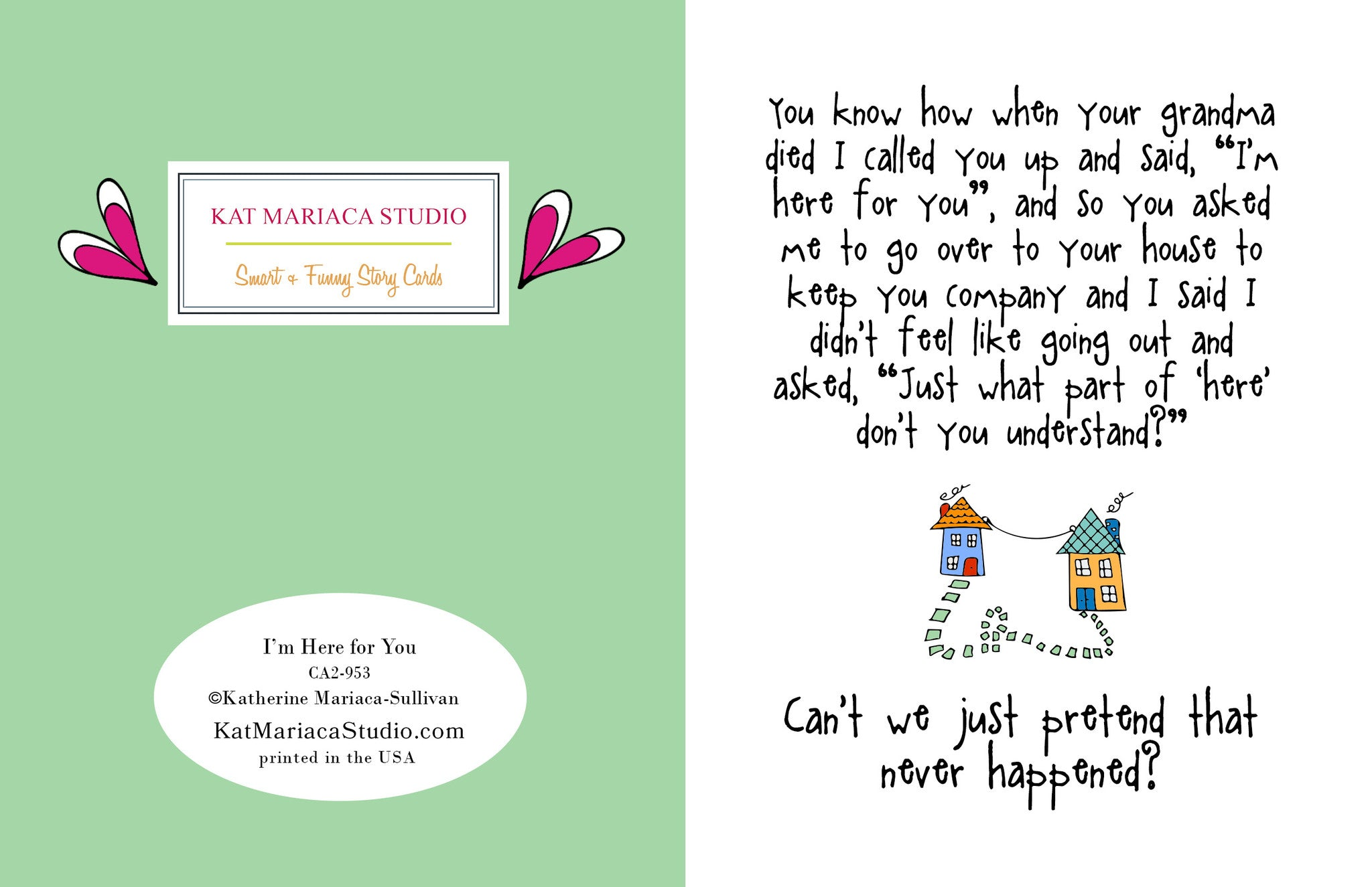 funny relationship card i m here for you from kat mariaca studio