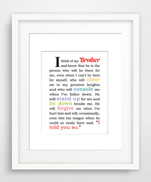I Think of My Brother - Matted Art Print Gift for Brother