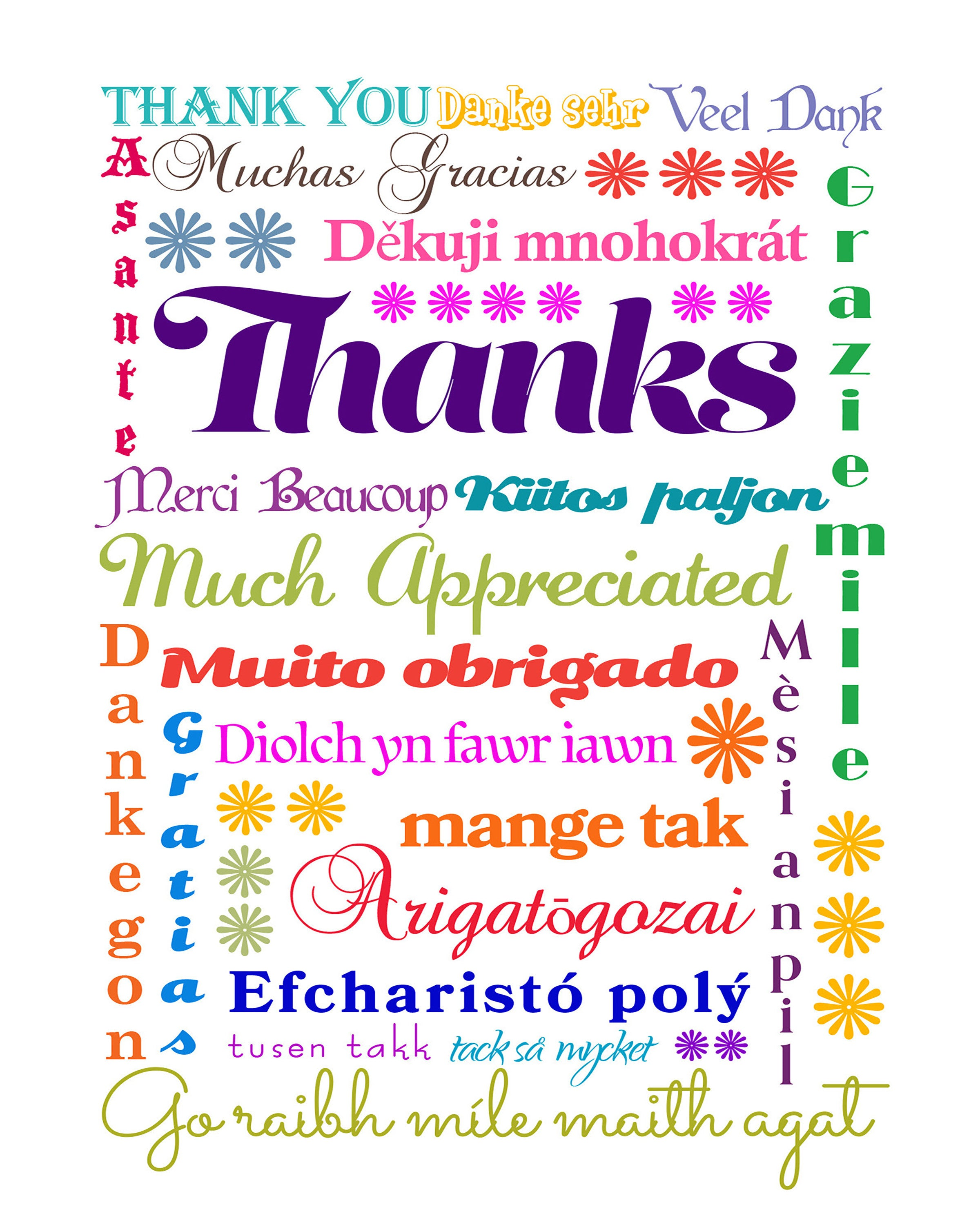 Instant Download International Thank You Message Printable Gift
