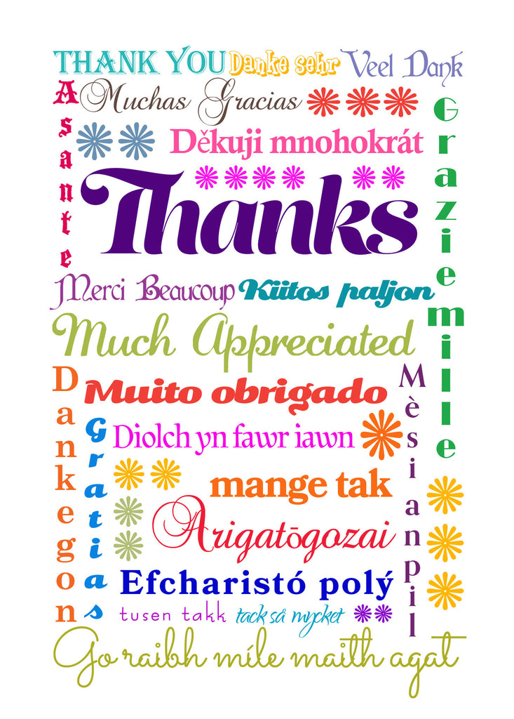 Card Set - Thank you - Multi-lingual International Thank You Cards - KatMariacaStudio - 4