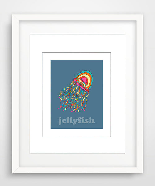 Jellyfish - Modern Nursery Room Art - Matted Art Print for Kids