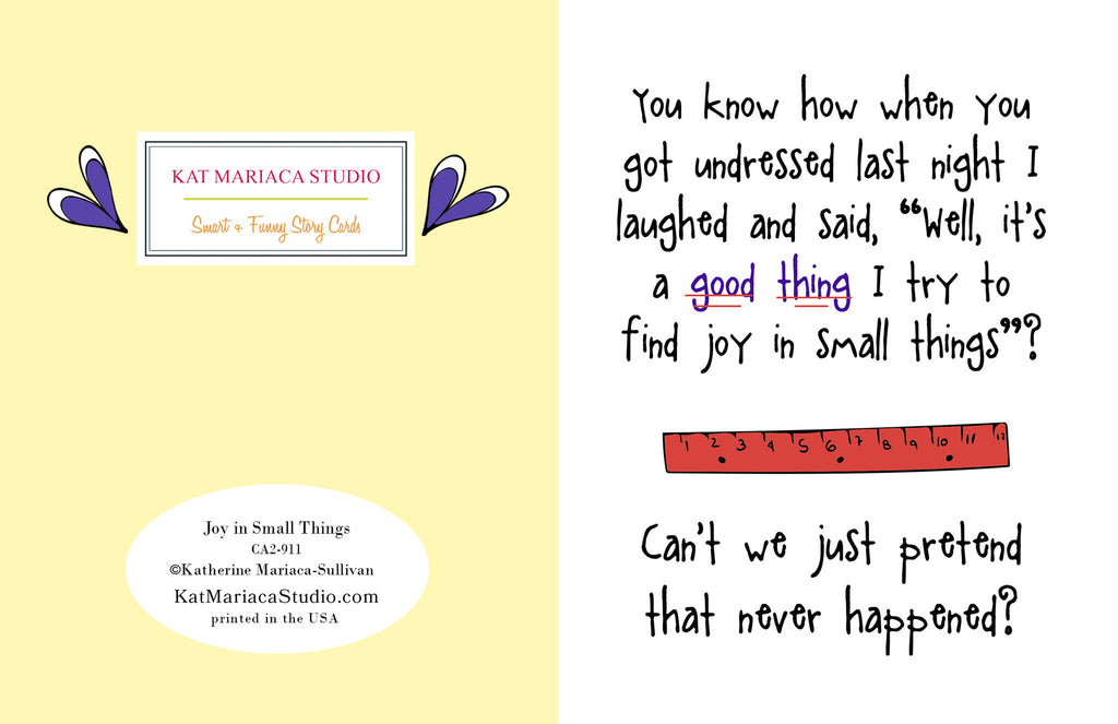 Regretful and Funny Card - Joy in Small Things - KatMariacaStudio - 2