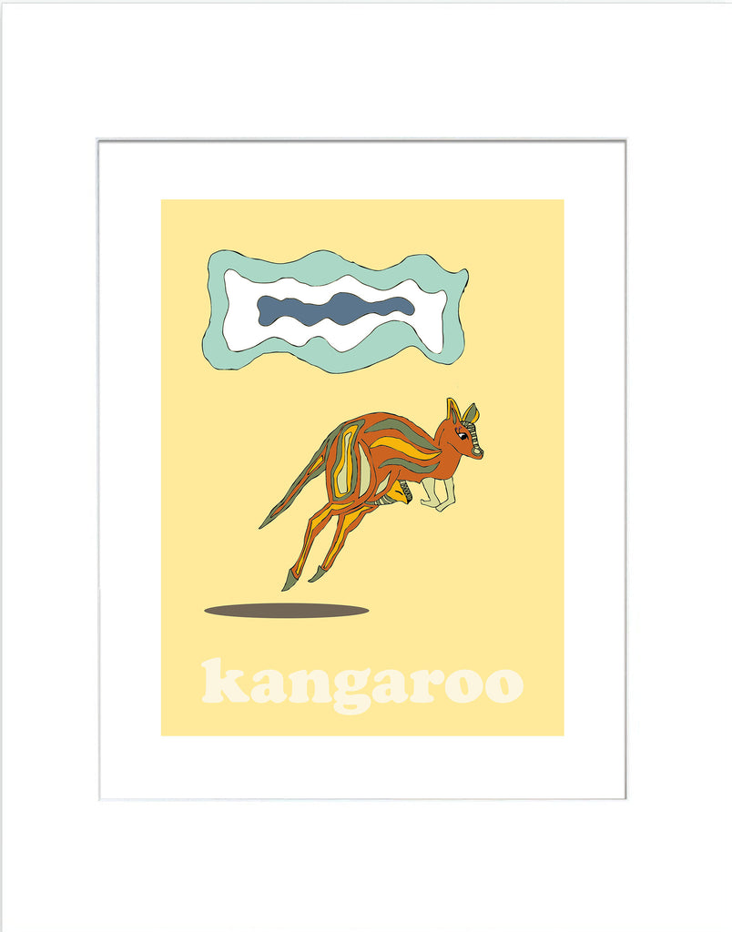 Kangaroo - Modern Nursery Room Art - Matted Art Print for Kids