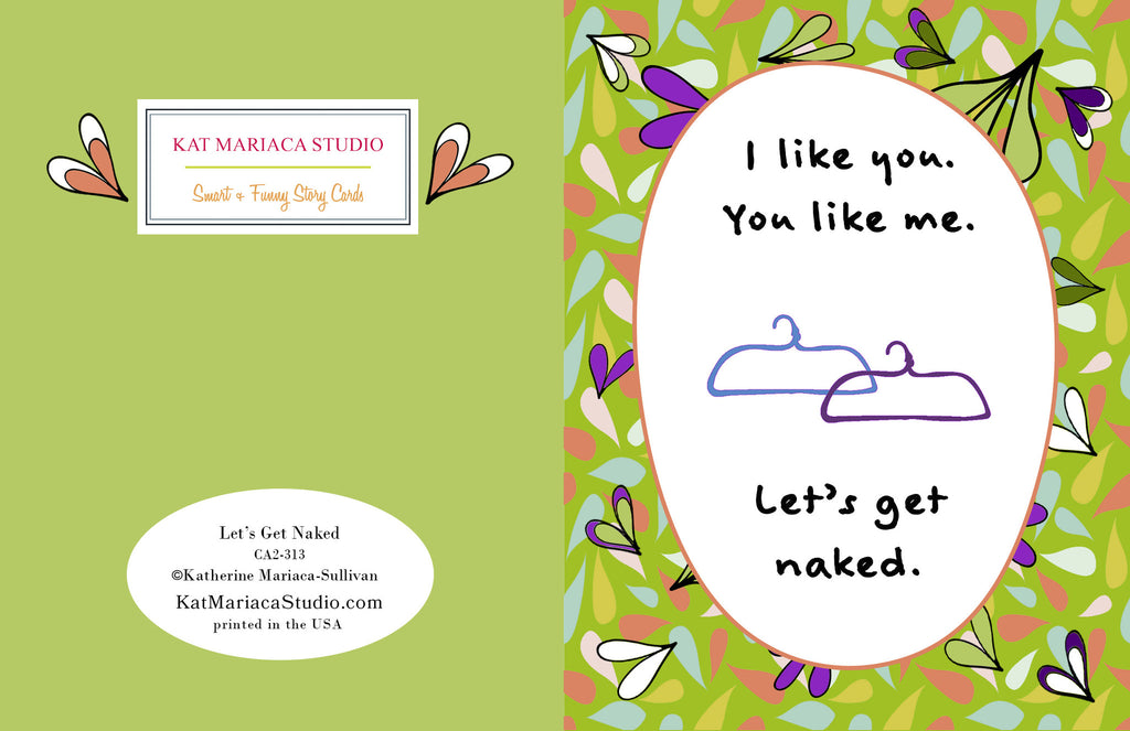 Let's Get Naked - Sexy Adult Greeting Card - KatMariacaStudio - 2