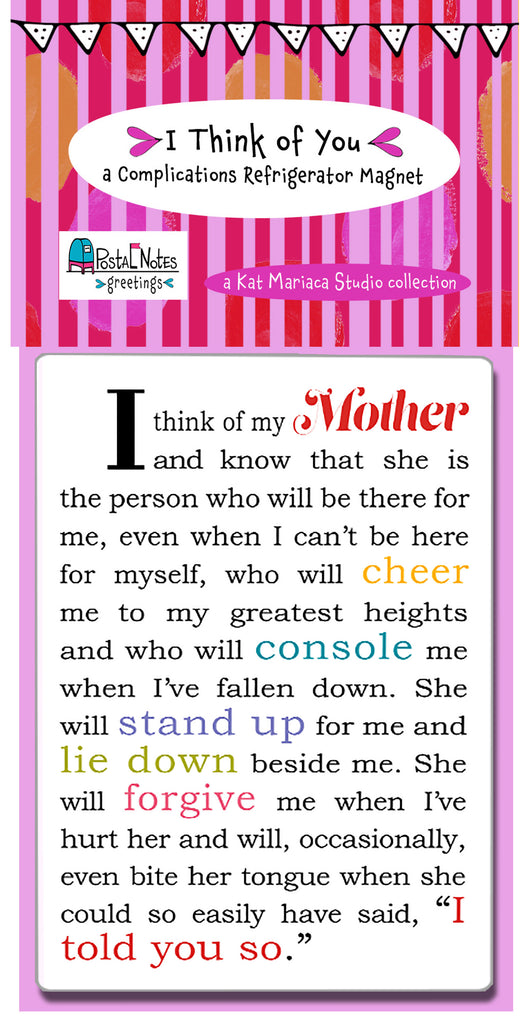 Great Gift for Mom - I Think of My Mother Refrigerator Magnet