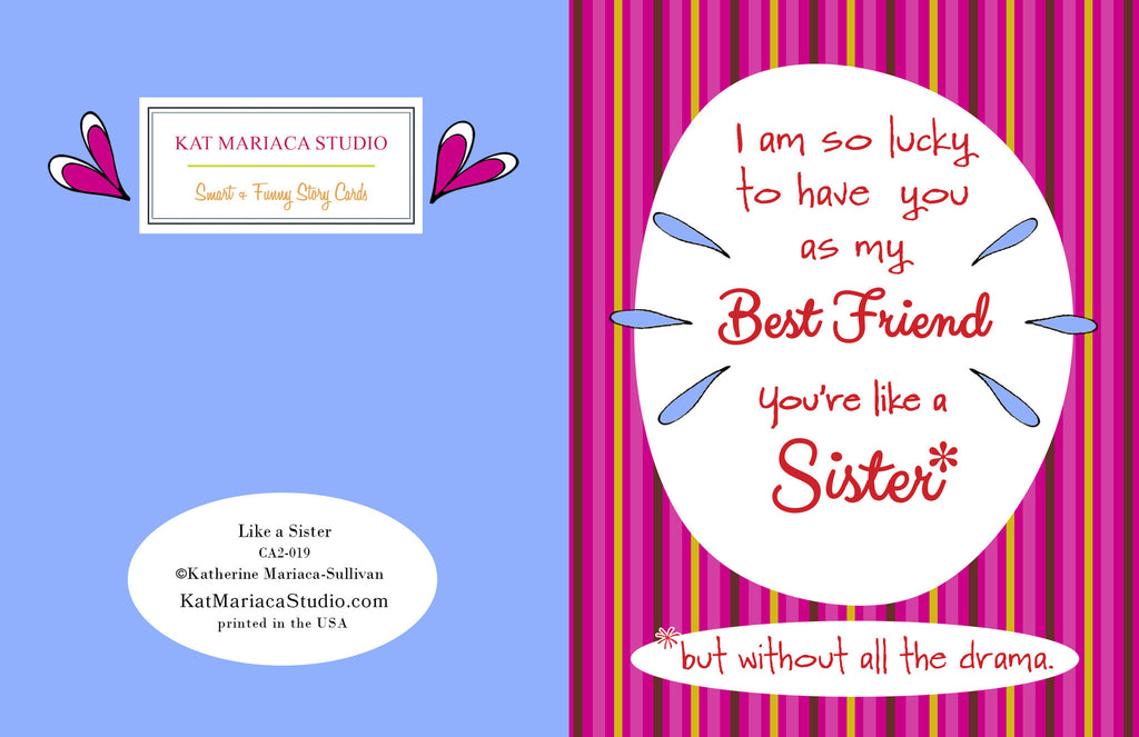 Like a Sister - Best Friend Greeting Card - KatMariacaStudio - 2