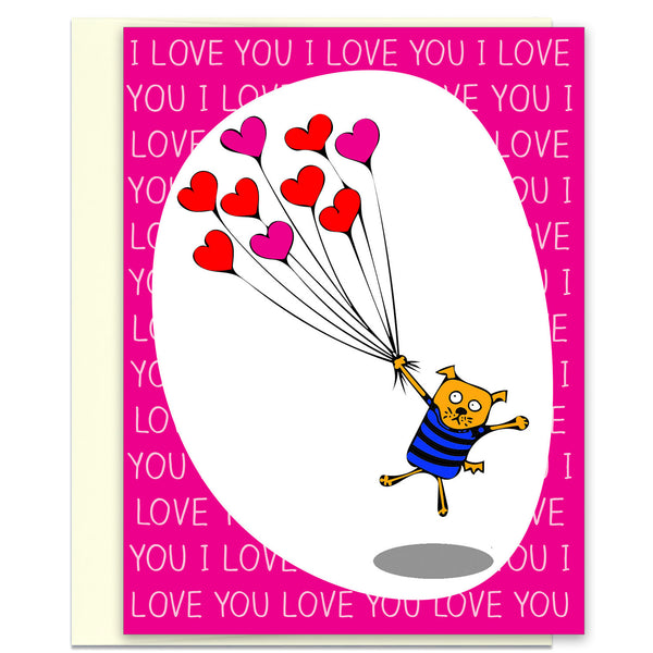 Silly Love & Valentine's Card - Love Dog with Balloons - KatMariacaStudio - 1