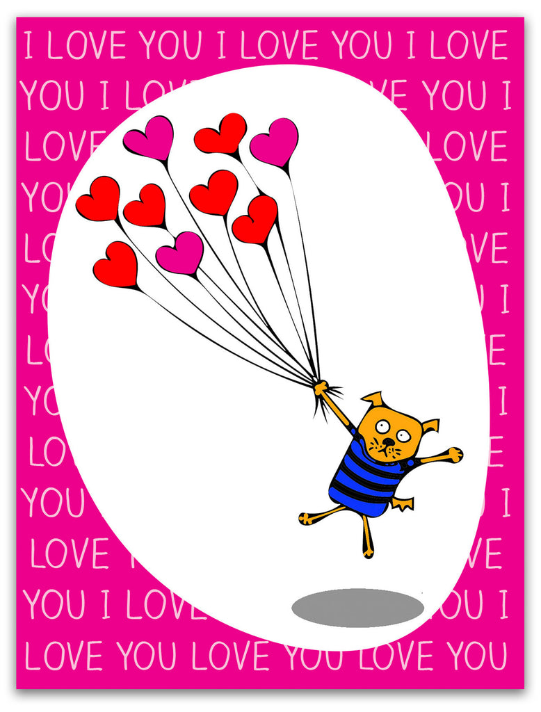 Silly Love & Valentine's Card - Love Dog with Balloons - KatMariacaStudio - 3