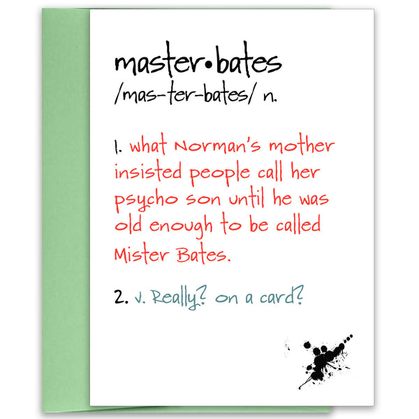 Master Bates - Funny Play on Words Card for Friend - KatMariacaStudio - 1