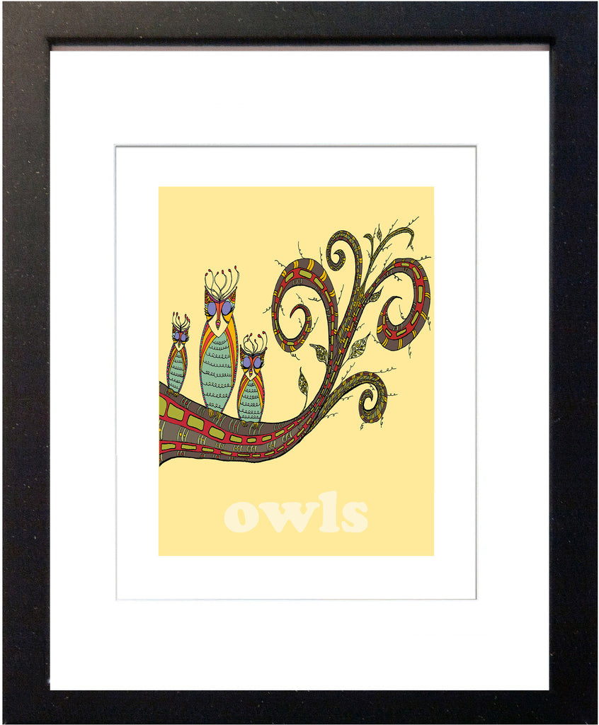 Owls - Modern Nursery Room Art - Matted Art Print for Kids' Rooms