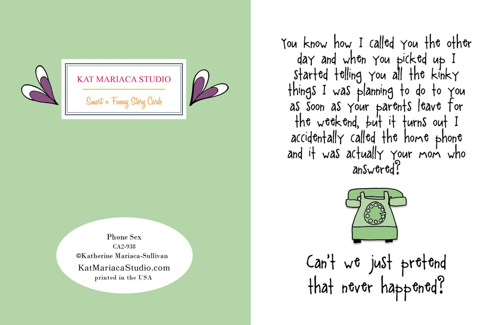 Funny Relationship Card - Phone Sex - from Kat Mariaca Studio - KatMariacaStudio - 2