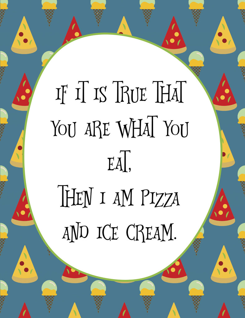 Funny Just Because Card for Friends - Pizza & Ice Cream - KatMariacaStudio - 4