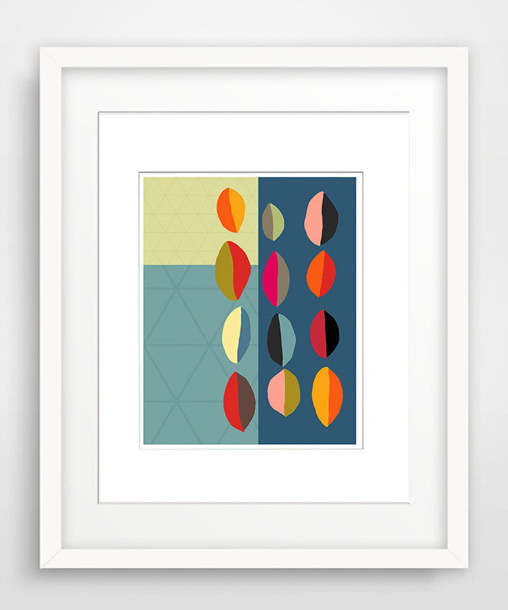 Modern Pods in Color - Matted Mid Century Modern Art Print