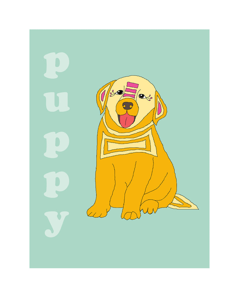 Puppy - Modern Nursery Room Art Print - Matted Art Print