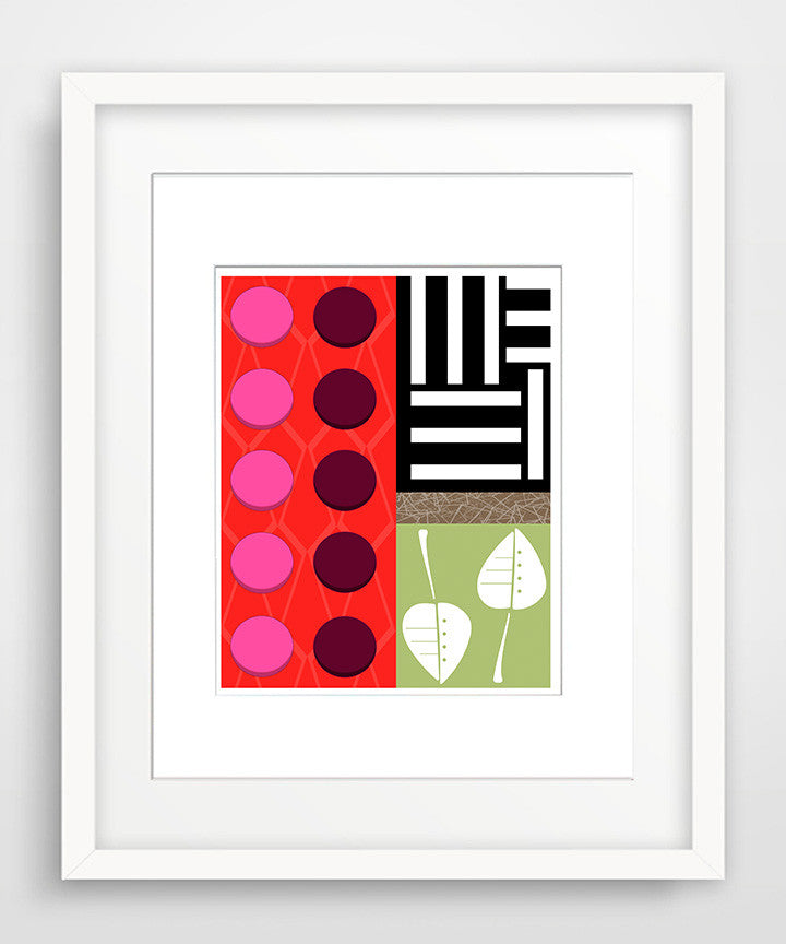 Quilted - Matted Modern Art Print