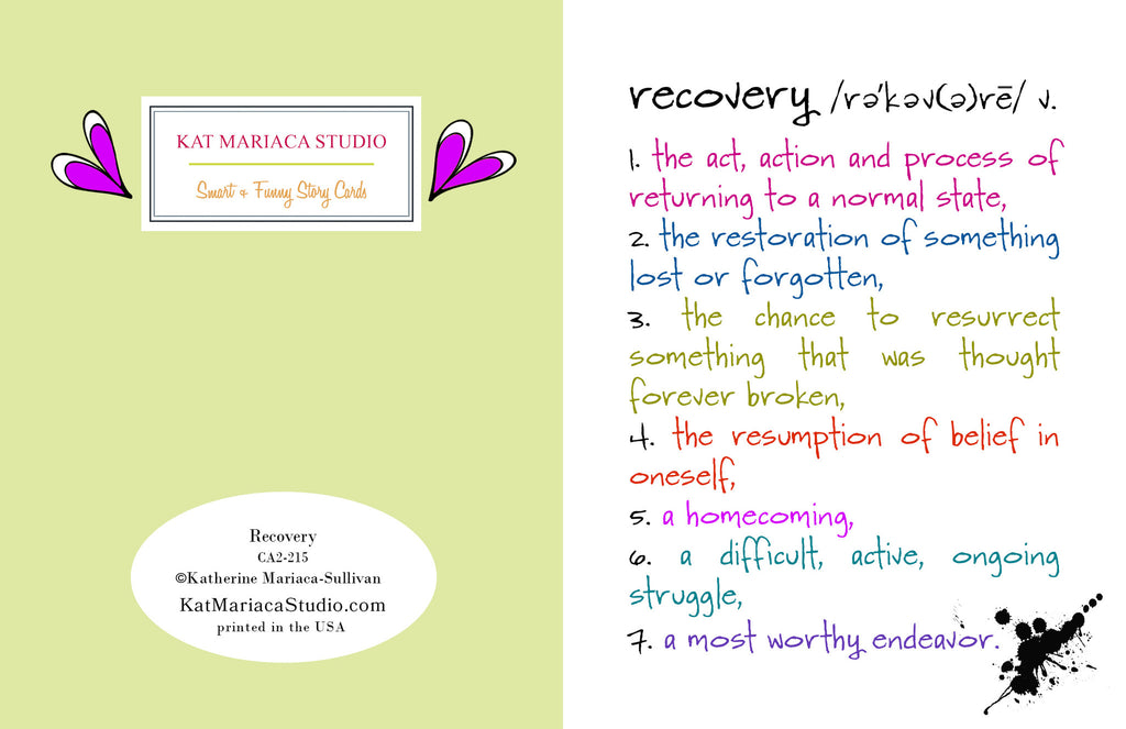 Recovery - an Encouragement and Support Greeting Card - KatMariacaStudio - 2
