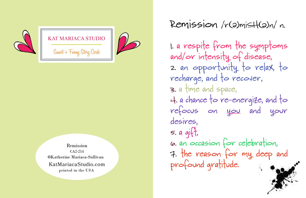 Remission - an Encouragement and Support Greeting Card - KatMariacaStudio - 2