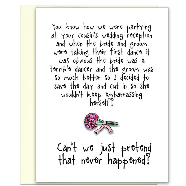 Hilarious & Awkward Wedding Card - Saving the (Wedding) Day - from Kat Mariaca Studio - KatMariacaStudio - 1