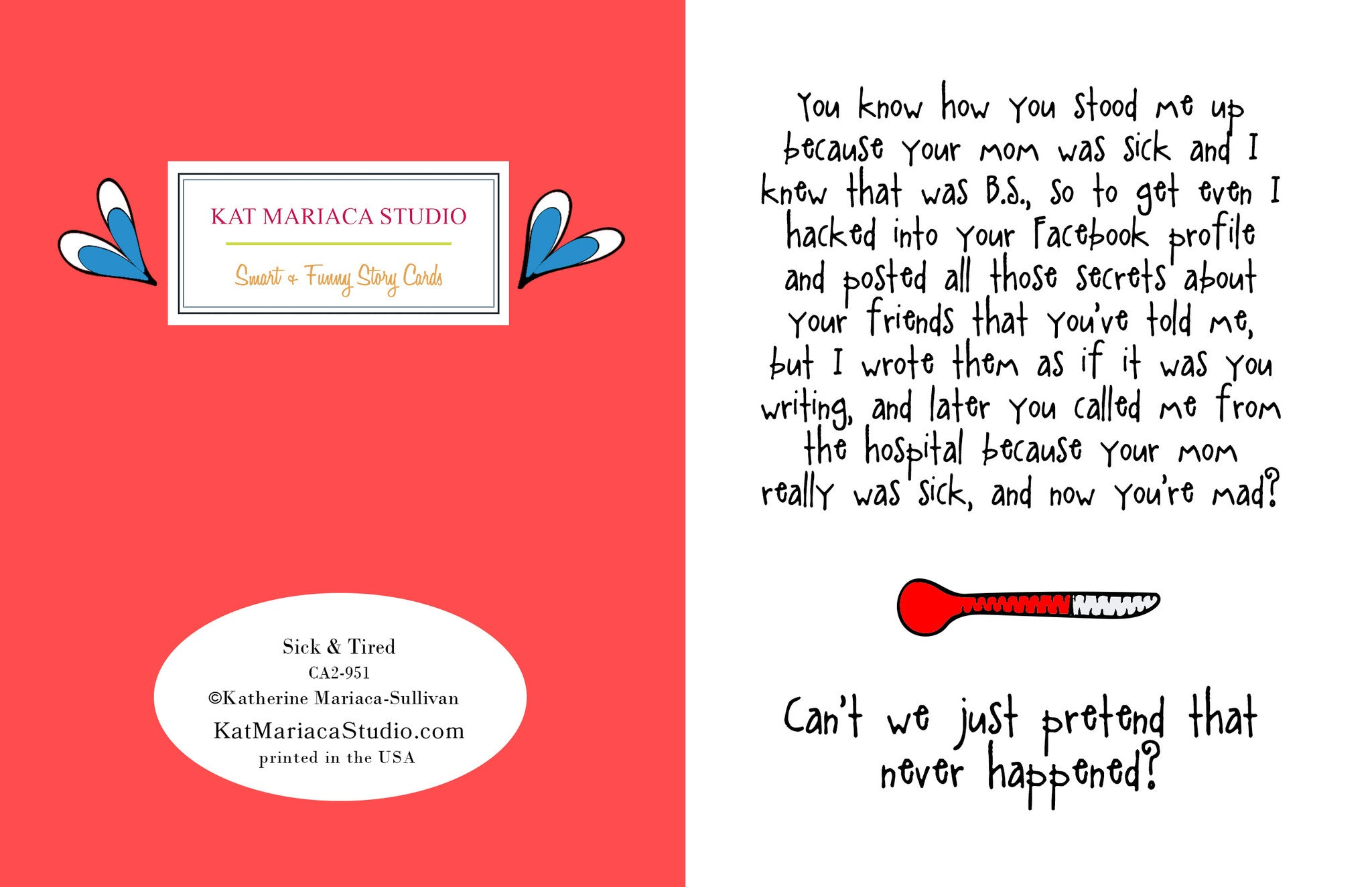 funny relationship card sick tired from kat mariaca studio
