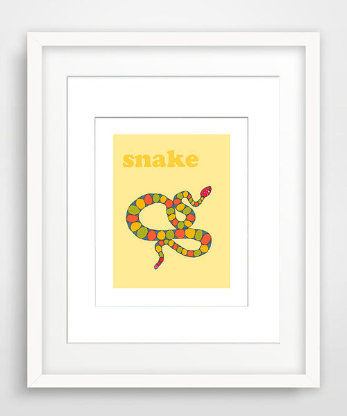 Snake - Modern Nursery Room Art - Matted Art Print