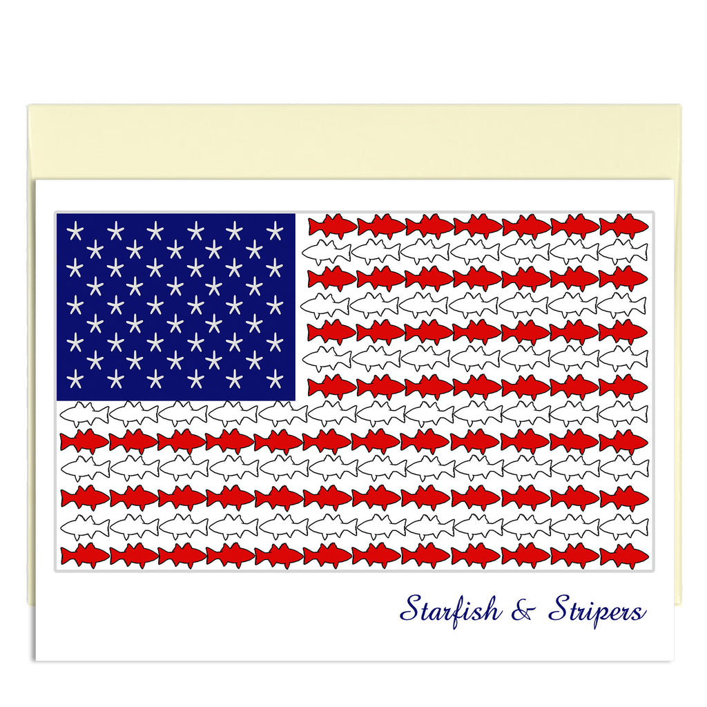 Starfish & Stripers - American Flag with Fish - KatMariacaStudio - 1
