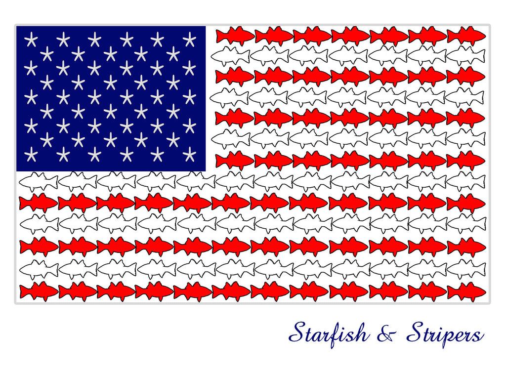 Starfish & Stripers - American Flag with Fish - KatMariacaStudio - 3
