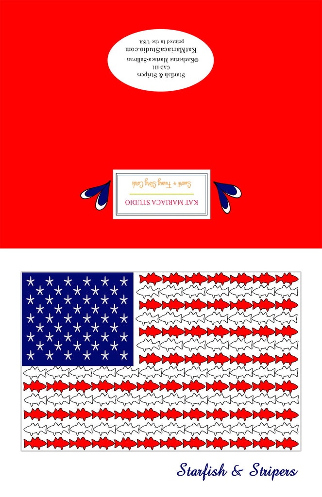 Starfish & Stripers - American Flag with Fish - KatMariacaStudio - 2