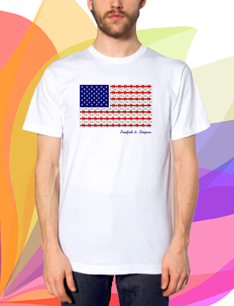 Starfish & Stripers American Flag Men's Short-Sleeve T-Shirt - KatMariacaStudio - 8