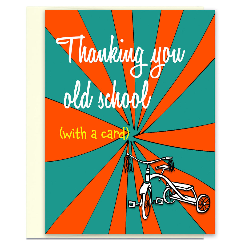 Thanking You Old School - Retro Thank You Card - KatMariacaStudio - 1