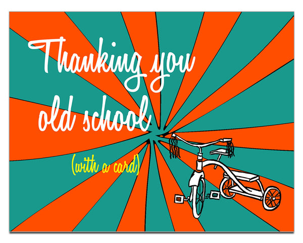 Thanking You Old School - a Lazy Greetings (TM) Post Card Thank You - KatMariacaStudio - 1